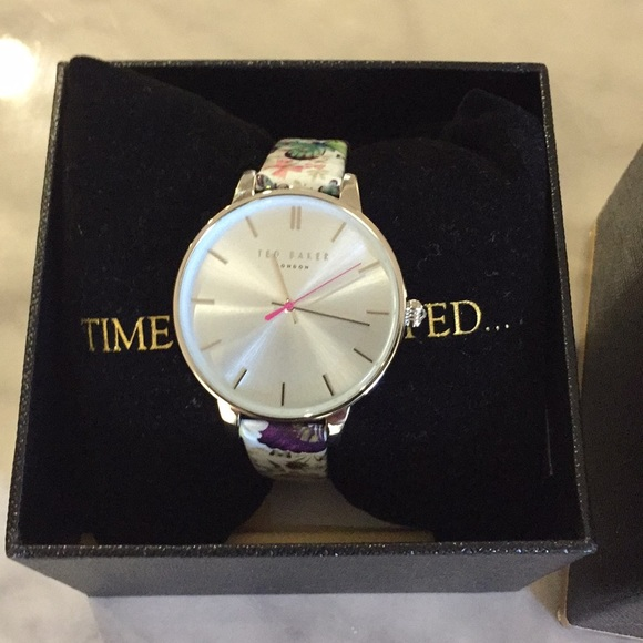 7777137db Ted Baker Butterfly Print Leather Watch New
